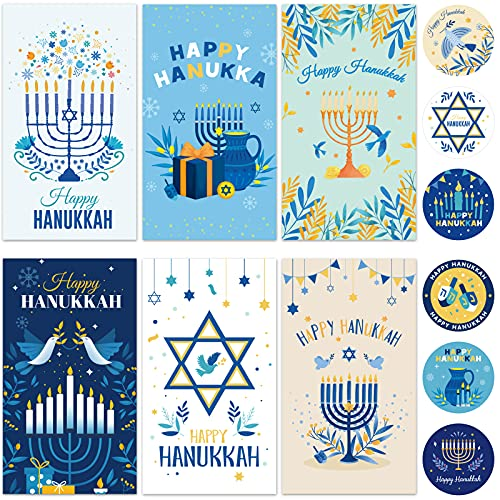 12 Hanukkah Greeting Cards Chanukah Greeting Cards with 12 Envelopes and 30 stickers Hanukkah Party decorations featuring Floral Designs and Star of David