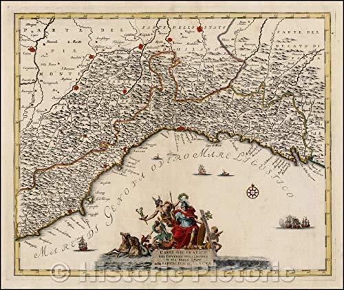 Historic Map - Carta Geografica Del Governo Della Liguria o Sia Dello Statos/Map of Liguria or Genoa, cartouche and Elaborate Marine Scenes, 1740 - Vintage Wall Art 53in x 44in