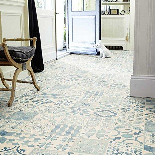 livingfloor® PVC Bodenbelag Shabby Retro Fliesenoptik Mediterran Blau 2m Breite, Länge variabel Meterware, Größe:6.00x2.00 m