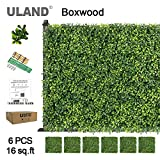 ULAND Artificial Boxwood Hedge Panels, Grass Greenery Backdrop, Outdoor Ivy Garden Fence, Home Wall Decorations, Pack of 6pcs 20'x20'
