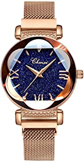 Luxury Women Watches Sky Dial Analog Quartz Watch Magnetic Mesh Band Waterproof Wrist Watches for Ladies