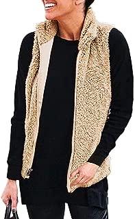 KIRJAUDU Women's Casual Sleeveless Zip Up Sherpa Fleece Vest Warm Cardigan with Pockets