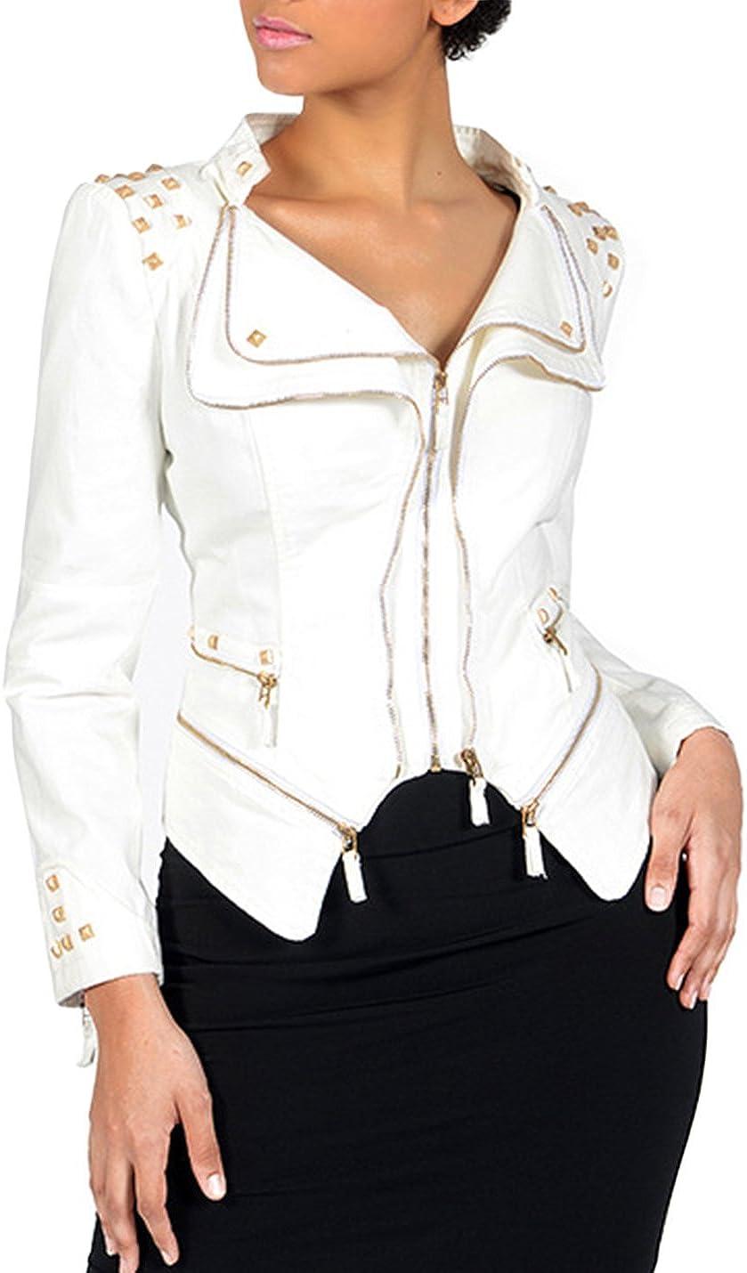Lentta Womens Slim Fit Stylish Studded Denim Blazer Short Punk Moto Jean Jacket
