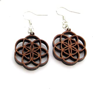 Small Casual Wooden Earrings Seed of Life, Silver Hooks, 0g, Yoga Jewelry