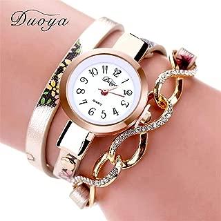 Women Rose Dress Leather Gold Bracelet Wristwatch Flowers Casual Ladies Women Bracelet Wrist Watches Gold