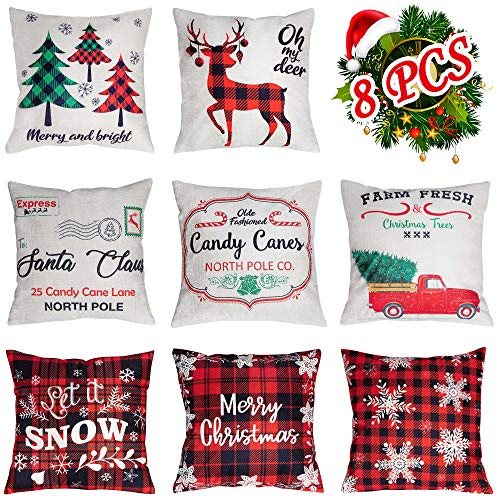 Geefuun 8 Pieces Christmas Throw Pillow Covers 18 x 18 Inches - Xmas Cushion Cover Case Decorations Winter Holiday Party Pillow Customized Zipper Pillowcase Decor for Sofa,Bed,Couch,Car
