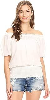Womens Short Sleeve Ruffle Stretch Off Shoulder Boho Blouse Top
