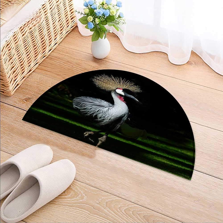 Semicircle Area Rug Carpet Elegant Grey red Crowned Crane Door mat Indoors Bathroom Mats Non Slip W47 x H32 INCH