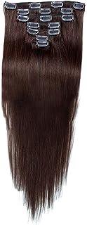 Vergeania 人間の髪の毛のRemyフルヘッドダブル横糸ストレートヘアピース(7個、#2ダークブラウン、20インチ、70g)のヘアエクステンションクリップ (色 : #2 Dark Brown)