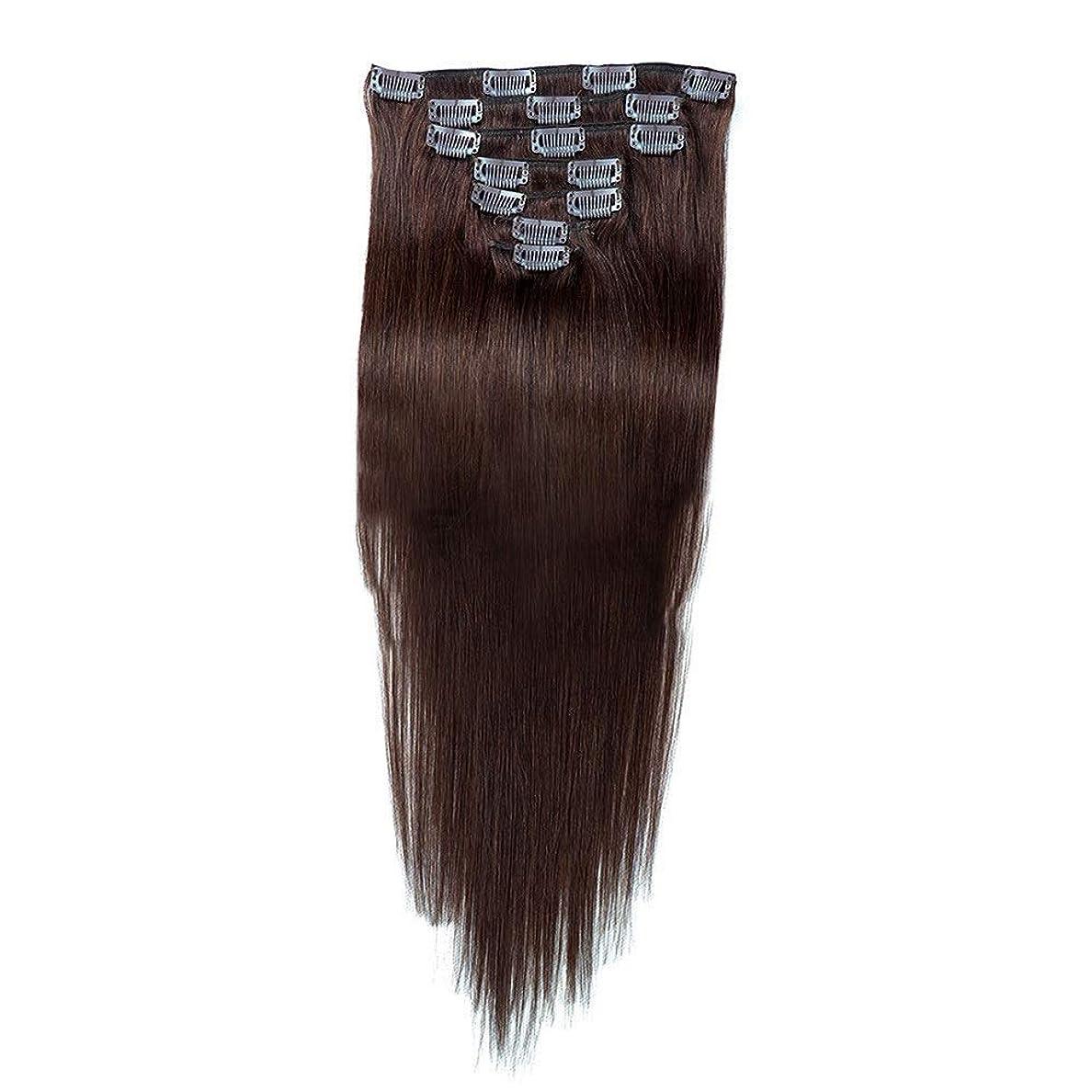 プット許可イタリアのBOBIDYEE 人間の髪の毛のRemyフルヘッドダブル横糸ストレートヘアピース(7個、#2ダークブラウン、20インチ、70g)のヘアエクステンションクリップ (色 : #2 Dark Brown)
