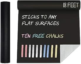 Extra Large Super Long Black Matte Chalkboard Contact Paper Vinyl Wall Decal Poster (18 FEET) Blackboard Roll Adhesive Board Paint w/Bonus Chalks - Peel and Stick DIY Wallpaper Sizes 17.8