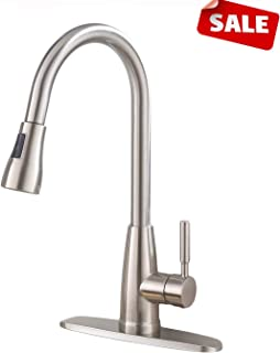 Commercial Brushed Nickel Single Handle Pull Down Sprayer Kitchen Faucet, Kitchen Sink Faucet With Deck Plate