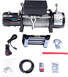 Electric Winch,cciyu 12V 12000 lbs Winches for Towing ATV/UTV/Boat Off Road with Clevis Hook and Fairlead,Control Box,Bolts,Wireless Remote Control,Hand Remote Control,Negative Wire,Instruction Manual