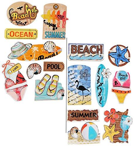 alles-meine.de GmbH 16 TLG. Set: Sticker / Aufkleber - Sommerurlaub - selbstklebend - z.B. für Stickeralbum / Figuren - Stickerset Fotoalbum Urlaubsbilder - Sandale Bikini Musche..