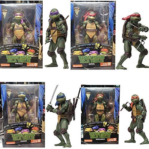 Tortuga Ninja: 7 Pulgadas Figura De Acción De 1990 Personaje De La Película Versión Móvil De Marionetas Colección Animada Modelo Estatua Decoración, Regalos De Cumpleaños para Niños A