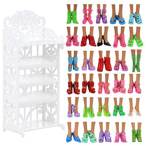 VILLAVIVI Schuhschrank Schuhgestell Lagerung + 40 Paar Schuhe Zubehör Möbel Accessories für 11,5 Zoll Mädchen Puppen