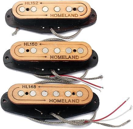 Healifty Micros Alamico V in Legno Micros a Singolo Bobina SSS Standard Manico, Manico e Set di Ponte per Gioco di Pezzi di Chitarra Elettrica Fender ST Stratocaster