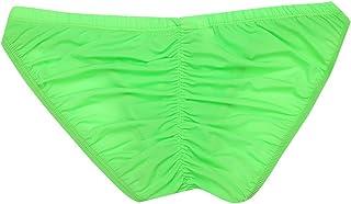 CHICTRY Men's Silky Bikini Briefs Contoured Pouch Cheeky Ruched Back Underwear Swimwear