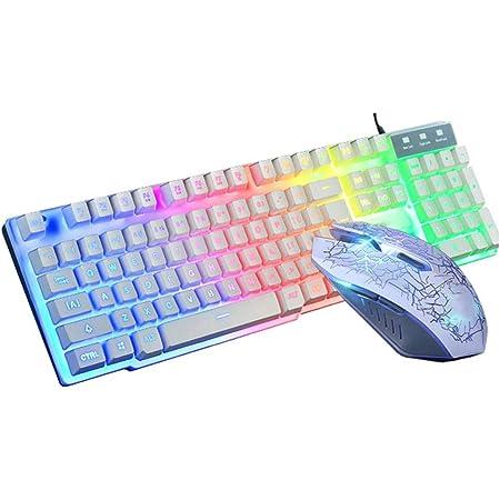Traje de Mouse con Teclado y Retroiluminación con Cable, Combinación de Teclado Gaming 104 Key Keyboard con USB1.1/2.0, Mouse Mecánico con Teclado a ...