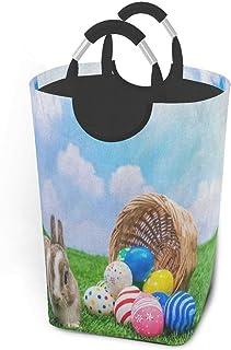 Panier à linge lapin oeuf de pâques oeuf mesurer bleu ciel grand panier à linge sale pliable grand panier de rangement en ...
