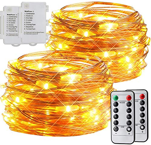 [2 Pack] esLife Fairy String Lights, 50LED 5M/16.4Ft Battery Powered Fairy Lights Waterproof Outdoor/Indoor DIY Flexible Copper Wire Firefly Light with Remote Timer for Bedroom, Christmas (Warm White)