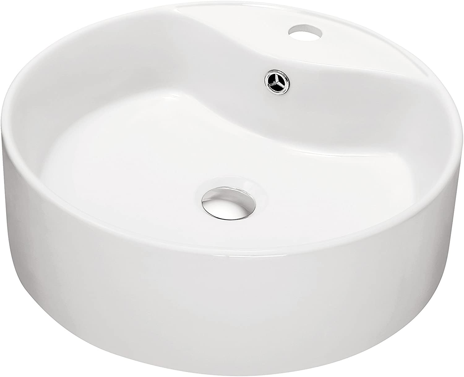 Contemporary Vessel Above-Counter Round Ceramic Art Basin with Single Hole for Faucet and Overflow, White