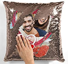 Mukesh Handicrafts Polyester Personalized Magical Cushion with 1 Photo (Golden, Standard Size)
