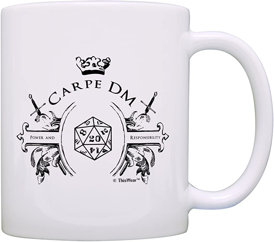 Gamer Mugs Game Master Carpe DM Funny D20 Critical Hit Chaotic Neutral Gift Coffee Mug Tea Cup White
