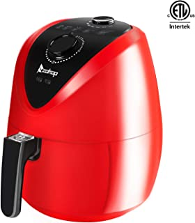 ROVSUN 3.7QT Air Fryer, ETL Electric Deep Fryers Multi-Function Oven Cooker w/Temp Time Control, Metal Racks Tongs, Dishwasher Safe Non Stick Basket Red