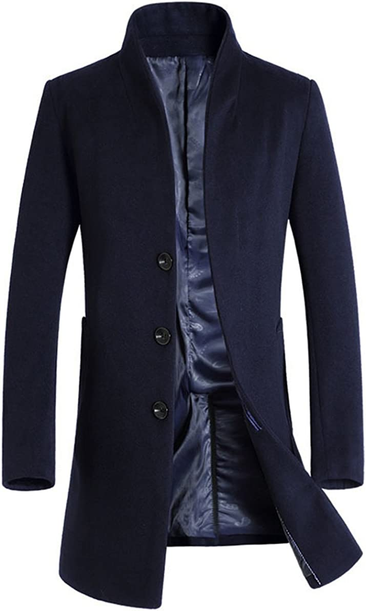 Minibee Men's Trench Coat Wool Blend half Slim online shopping Long Jacket Fit Busine