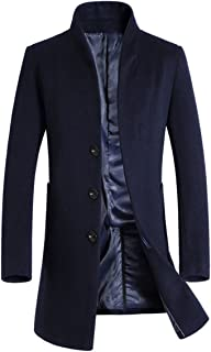 Men's Trench Coat Wool Blend Slim Fit Long Jacket Business Overcoat