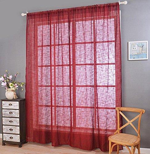 LCurtains 1 Paire Polyester Demi ombrage 70% Rideau de fenêtre, Red, 130 * 214cm