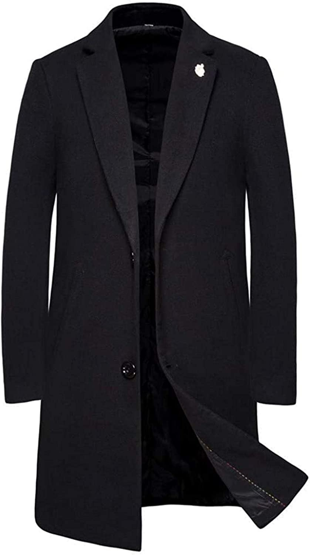 Men's Wool Blend Coat Slim fit Warm Windbreaker Business Winter Jacket