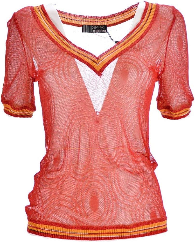 Missoni sport, maglia da donna mezza manica rosso traforata,in viscosa 100 %,raglia 46 eu
