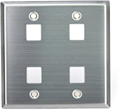 Leviton 43080-2S4 QuickPort Wallplate, Dual Gang, 4-Port, Stainless Steel