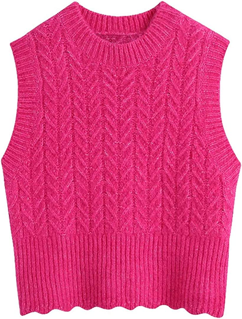Women Cropped Cable-Knit Vest Sweater Vintage O Neck Sleeveless Waistcoat Chic Tops