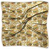 iuitt7rtree Copricapo quadrato da donna Hamburger e patatine fritte Copricapo quadrato in poliestere con sensazione di raso