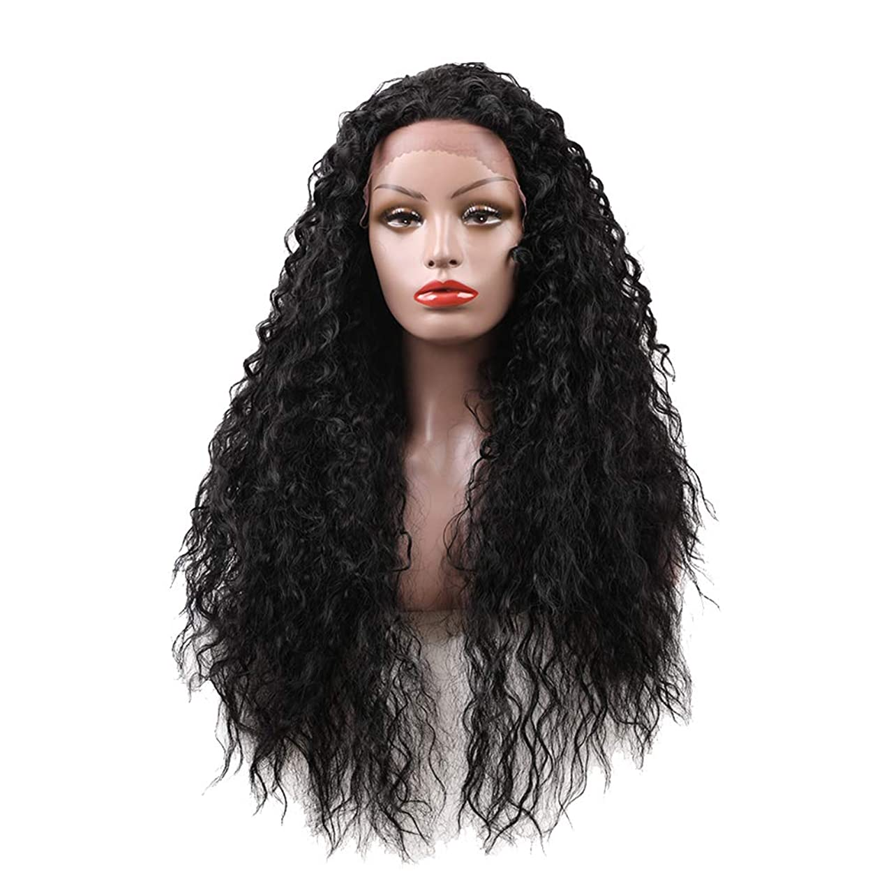 Butterfly Iron Women's Black High Temperature Fiber Long Curly Wig Cosplay Party Hairpiece