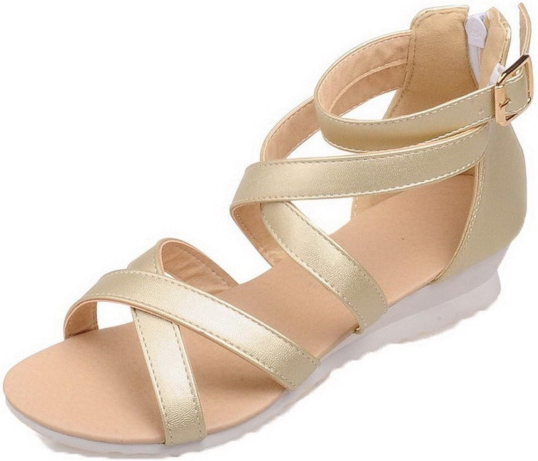 AmoonyFashion Women's Pu Zipper Open Toe Low-Heels Solid Sandals, gold, 35