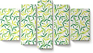 5 Panels Canvas Print Wall Art Simple Leaves Wall Decor Pictures for Living Room Modern Artwork Paintings Photographs Stretched and Framed Ready to Hang