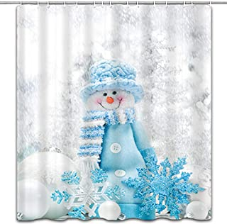 hipaopao Merry Christmas Cute Snowman Holiday Fabric Shower Curtain Sets Bathroom Decor with Hooks Waterproof Washable 72 x 72 inches White Blue