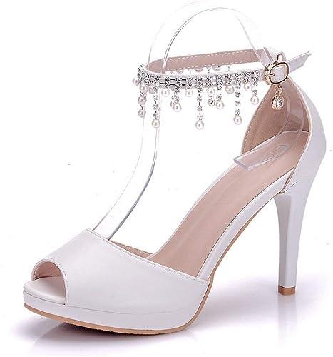 ZHRUI Cadenas de Tobillo de satén Peep Toe para damenes Sandalias de Novia Nupcial Retro (Farbe   Weiß-9cm Heel, tamaño   4 UK)