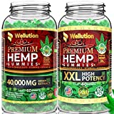 (2 Pack Bundle) Hemp Gummies 40,000+2,500,000 XXL High Potency Premium - Stress & Anxiety Relief - Natural & Safe Oil Gummies - Mood Enhancer & Immune Support - Rich in Vitamins B, E & Omega 3-6-9