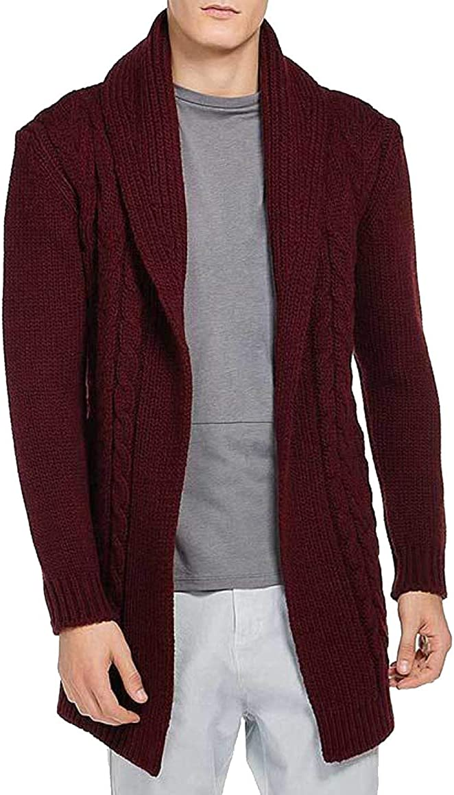 The Project Garments Men's Shawl Collar Wool Blend Belted Cardigan Burgundy