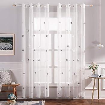 Deconovo Gardinen Leinenoptik Transparent /Ösenvorhang Transparent Vorhangschals mit Stickerei 138x140 cm Stern Rosa