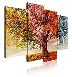 DekoArte 402 - Quadri Moderni Stampa di Immagini Artistica Digitalizzata | Tela Decorativa per Soggiorno o Stanza da Letto | Stile Paesaggio Alberi Quattro Stagioni dell'Anno | 4 Pezzi 120 x 90 cm