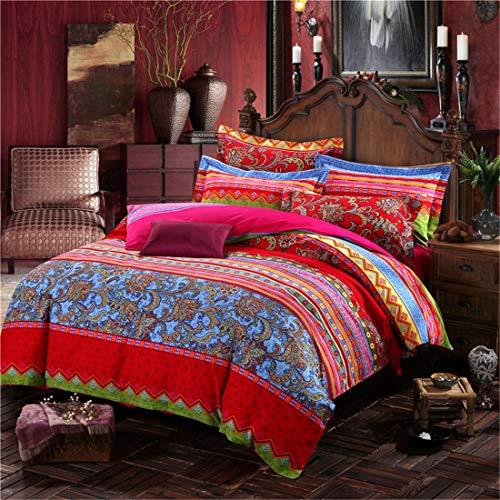 Juego de funda de edredón bohemia, colorido rojo, estilo bohemio, retro, 100% algodón, funda de edredón tribal reversible, funda de edredón de 2 piezas individual