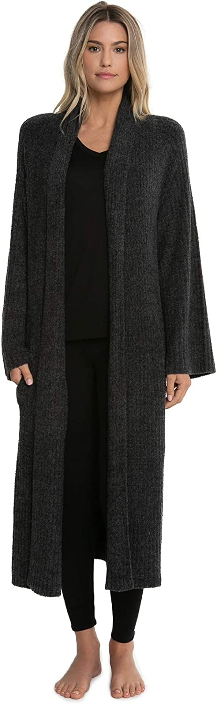 Barefoot Dreams CozyChic Lite Cross Creek Cardi, Long Sleeve Full Length Sweater, Carbon-black, Large / X-Large