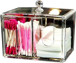 MOOCHI Q-Tips Cotton Swab Holder Makeup Pads Sponge Lipstick Container with Lid Acrylic 2 Trays Bathroom Bedroom Organizer