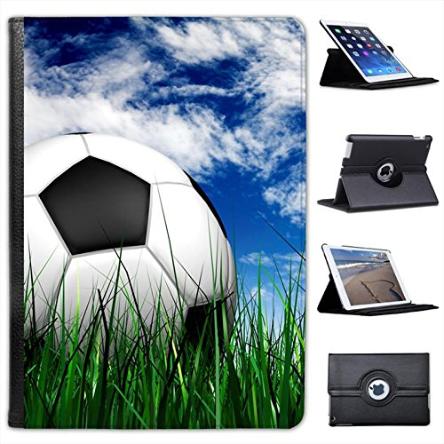 Fancy A Snuggle Football Sat on Green Grass with Blue Cloudy Sky For Apple iPad Air 2 Faux Leather Folio Presenter Case Cover Bag with Stand Capability